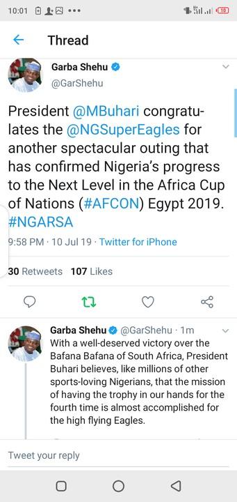 AFCON: Buhari Congratulates Super Eagles For Defeating South Africa 2-1 5