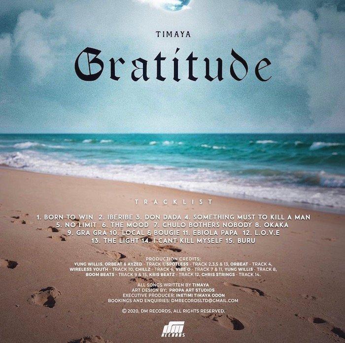 "Tracklist For Timaya's Upcoming Album ""GRATITUDE"" Revealed 1"