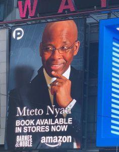 "Mteto Nyati's new book ""Betting on a Darkie"" debuts on NewYork Times Square Billboard 3"
